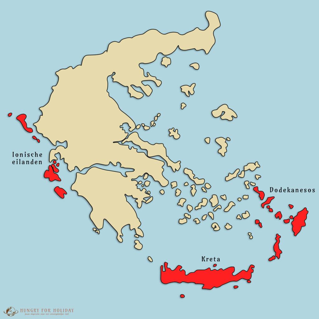 De Ionische eilanden, Kreta en Dodekanesos. Bekendste griekse eilanden