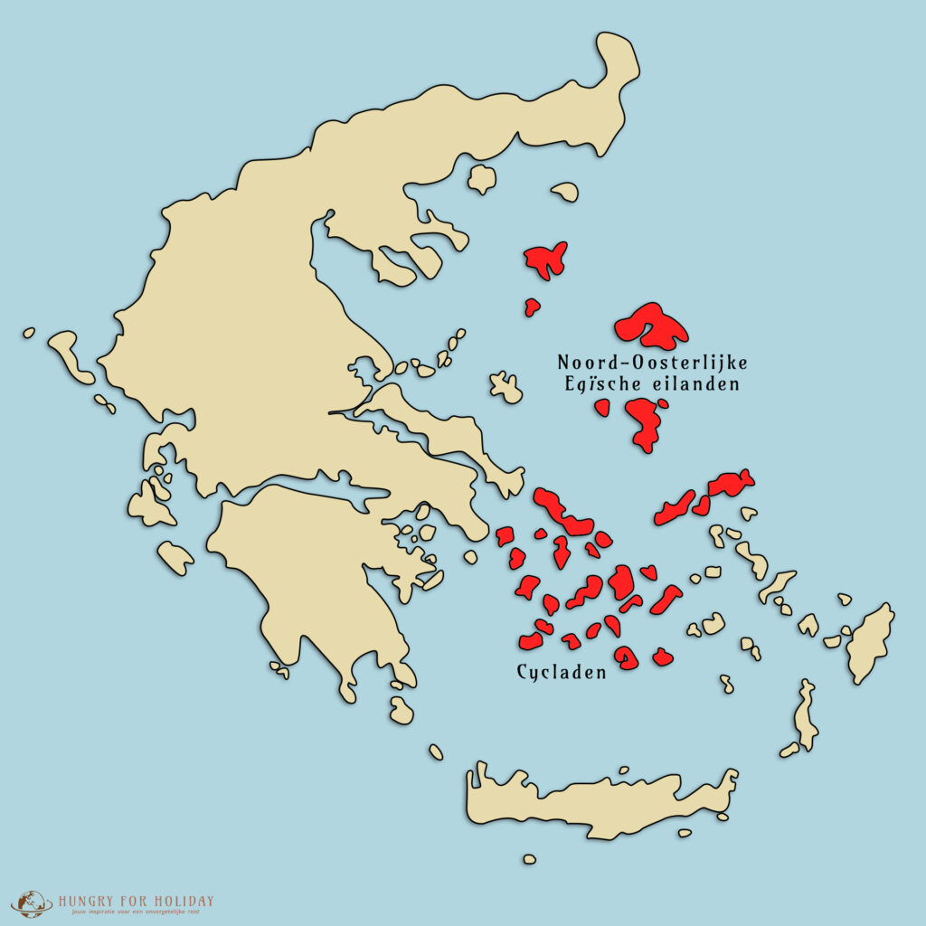 De Noord-Oosterlijke Egische eilanden en de Cycladen. Bekendste griekse eilanden